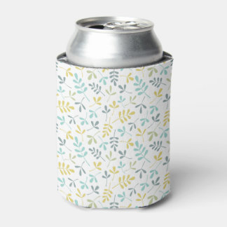Assorted Leaves Sml Pattern Color Mix on White Can Cooler