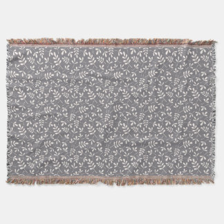 Assorted Leaves Sml Pattern Cream on Grey Throw Blanket