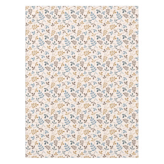 Assorted Leaves Sml Ptn Blues Brown Gold Cream Tablecloth