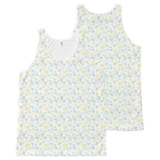 Assorted Leaves Sml Rpt Ptn Color Mix on White All-Over Print Tank Top