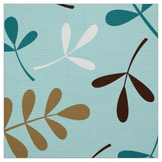 Assorted Leaves Teals Cream Gold Brown Ptn Fabric