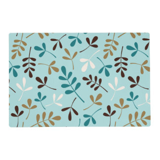 Assorted Leaves Teals Cream Gold Brown Ptn Laminated Placemat