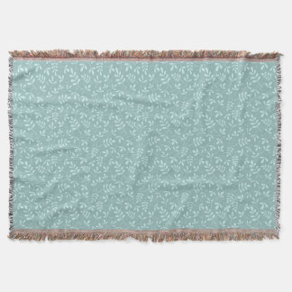Assorted Light on Mid Teal Leaves Small Pattern Throw Blanket