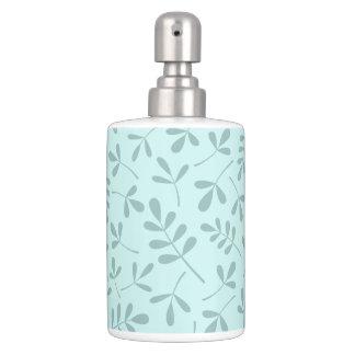 Assorted Mid on Light Teal Leaves Pattern Bathroom Set