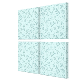 Assorted Mid on Light Teal Leaves Rpt Pattern Canvas Print