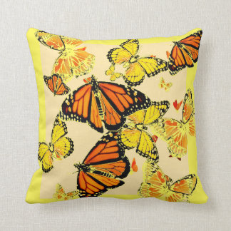 ASSORTED MONARCH  BUTTERFLIES YELLOW COLLAGE CUSHION