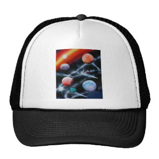 Assorted planets and star stripe space scene mesh hats