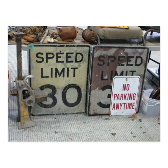 Assorted Road Signs Postcard