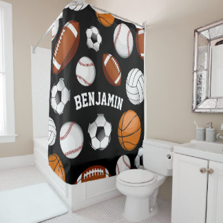Assorted Sports Personalized Name Black Shower Curtain