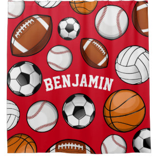 Assorted Sports Personalized Name Red Shower Curtain