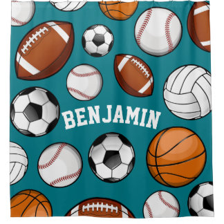 Assorted Sports Personalized Name Teal Shower Curtain