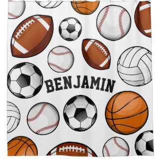 Assorted Sports Personalized Name White Shower Curtain