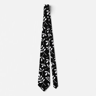 Assorted White Leaves on Black Big Pattern Tie