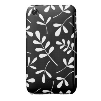 Assorted White Leaves on Black Design iPhone 3 Case-Mate Case