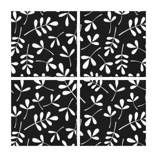 Assorted White Leaves on Black Pattern Canvas Print