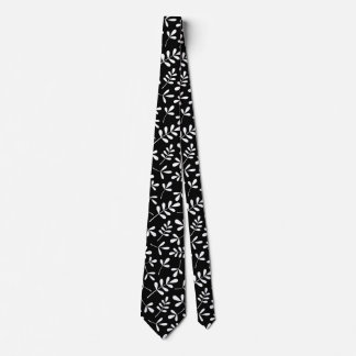 Assorted White Leaves on Black Pattern Tie