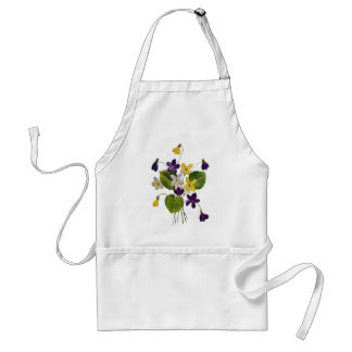 Assorted Wild Violets Done in Crewel Embroidery Apron