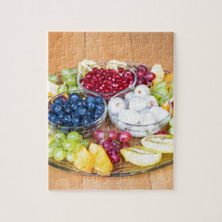 Assortment fresh summer fruit on glass scale jigsaw puzzle