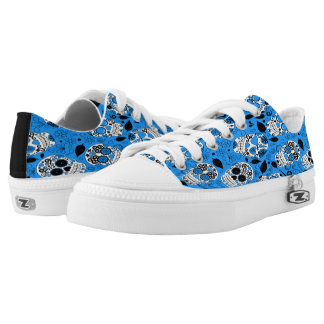 Assortment of blue and white sugar skull low tops