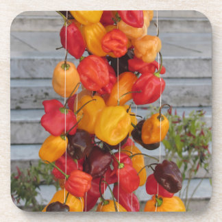 Assortment of colorful chilli peppers coasters