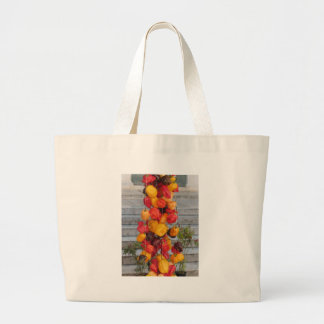 Assortment of colorful chilli peppers large tote bag