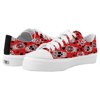 Assortment of red and white sugar skull low tops