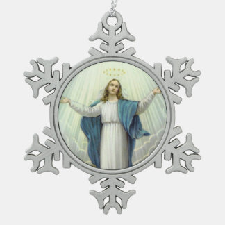 Assumption of the Blessed Virgin Mary Snowflake Pewter Christmas Ornament