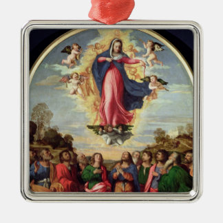 Assumption of the Virgin Silver-Colored Square Decoration