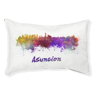 Assumption skyline in watercolor pet bed