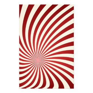 Assymetrical maroon spiral custom stationery