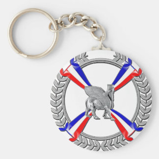 Assyrian Flag and Lamassu Button Keychain