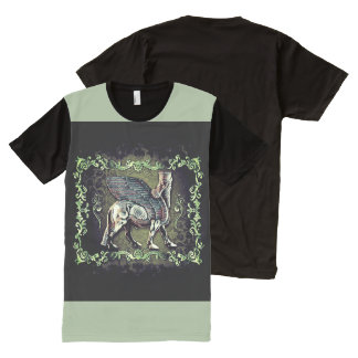 Assyrian lamassu Panel T-Shirt (green)