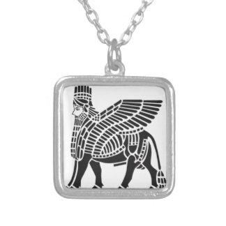 Assyrian Lamassu Silver Plated Necklace