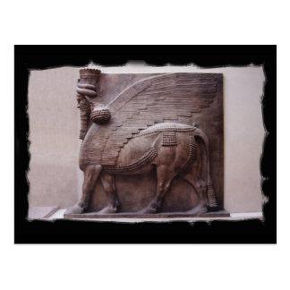 assyrian winged bull postcard