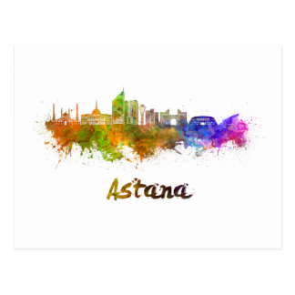 Astana skyline in watercolor postcard