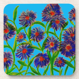 Aster Flowers Art on Set of Coasters