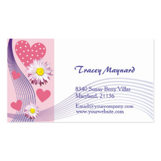 Aster pink heart Business Card