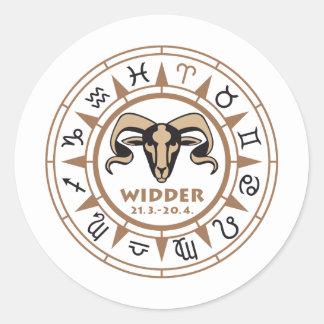 Asterisk Aries Round Sticker