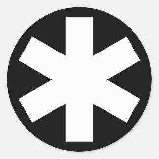 Asterisk - White on Black Classic Round Sticker
