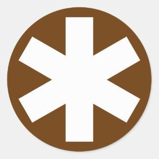 Asterisk - White on Brown Round Sticker