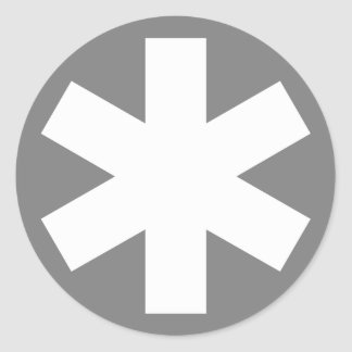 Asterisk - White on Gray Round Sticker
