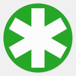 Asterisk - White on Green Round Sticker