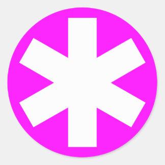 Asterisk - White on Magenta Round Sticker