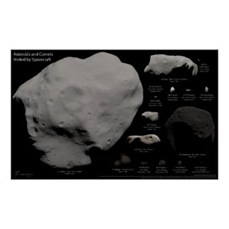 Asteroids and Comets Visited By Spacecraft Poster