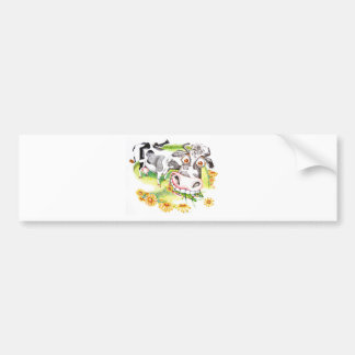 Astonished cartoon cow grazing on flowers bumper sticker