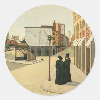 Astor Place, New York circa 1932 Classic Round Sticker