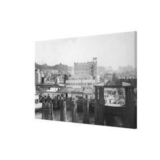 Astoria Oregon Scene with Ferry Slip Stretched Canvas Prints
