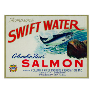 Astoria, Oregon - Thompson's Swift Water Salmon Poster