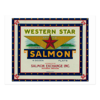 Astoria, Oregon - Western Star Salmon Case Label Postcard