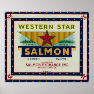 Astoria, Oregon - Western Star Salmon Case Label Poster